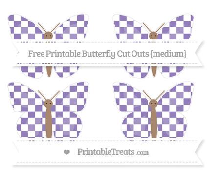 Free Pastel Dark Plum Checker Pattern Medium Butterfly Cut Outs