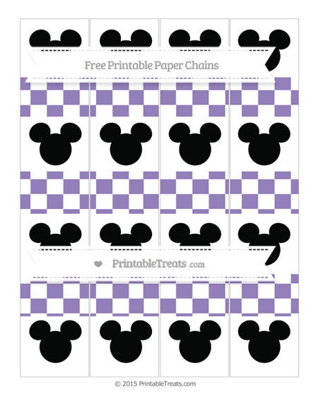 Free Pastel Dark Plum Checker Pattern Mickey Mouse Paper Chains