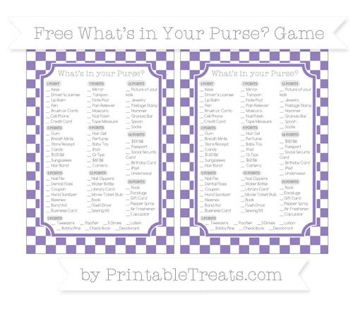 Free Pastel Dark Plum Checker Pattern What's in Your Purse Baby Shower Game
