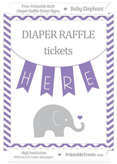 Free Pastel Dark Plum Chevron Baby Elephant 8x10 Diaper Raffle Ticket Sign