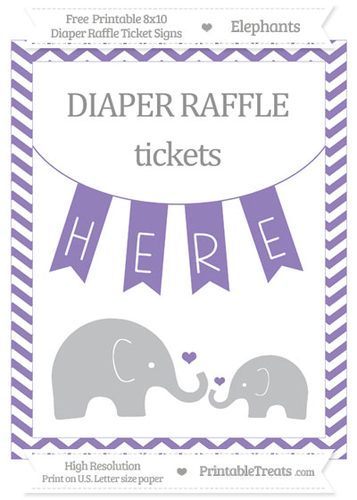 Free Pastel Dark Plum Chevron Elephant 8x10 Diaper Raffle Ticket Sign