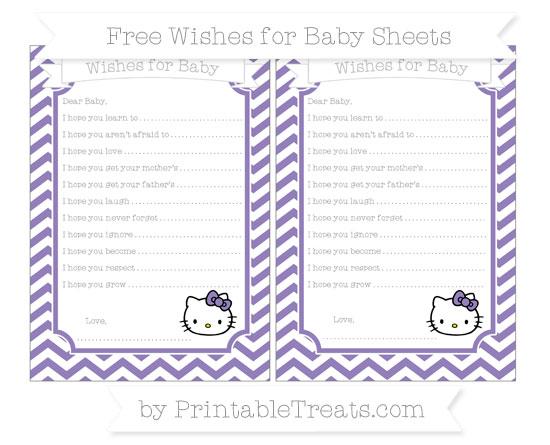 Free Pastel Dark Plum Chevron Hello Kitty Wishes for Baby Sheets