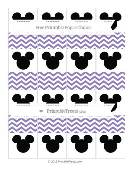 Free Pastel Dark Plum Chevron Mickey Mouse Paper Chains
