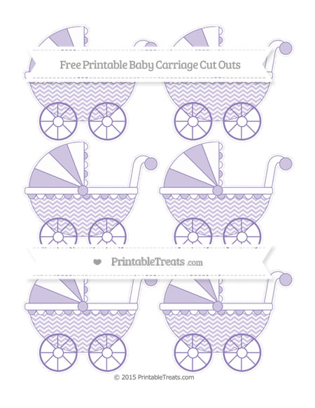 Free Pastel Dark Plum Chevron Small Baby Carriage Cut Outs