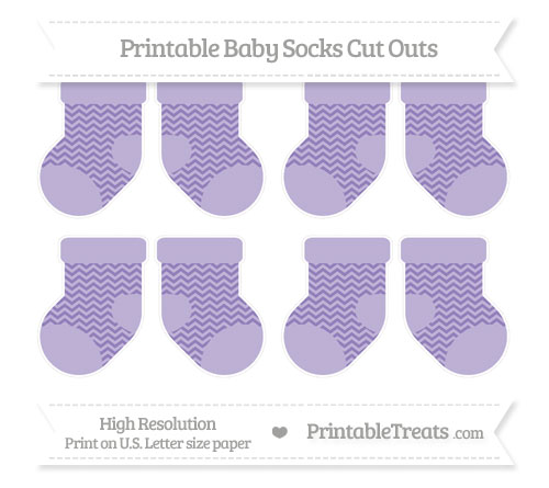 Free Pastel Dark Plum Chevron Small Baby Socks Cut Outs