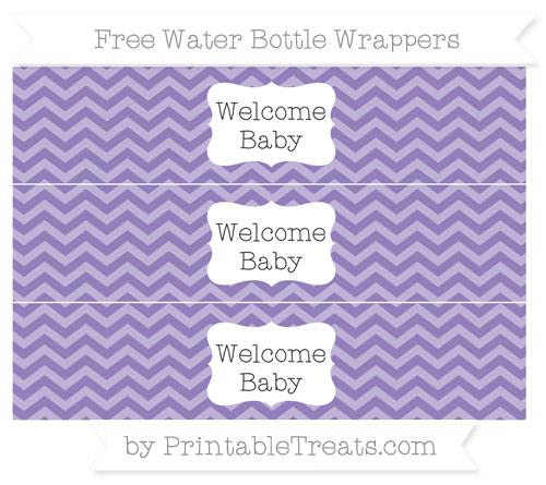 Free Pastel Dark Plum Chevron Welcome Baby Water Bottle Wrappers