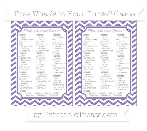 Free Pastel Dark Plum Chevron What's in Your Purse Baby Shower Game