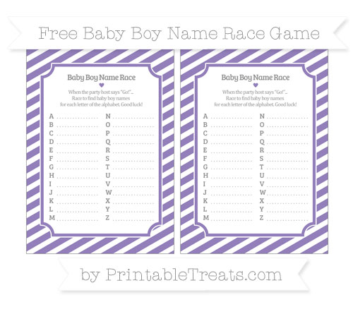 Free Pastel Dark Plum Diagonal Striped Baby Boy Name Race Game