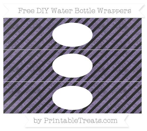 Free Pastel Dark Plum Diagonal Striped Chalk Style DIY Water Bottle Wrappers