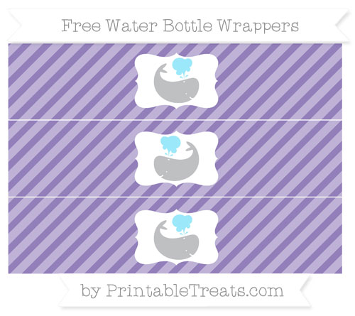 Free Pastel Dark Plum Diagonal Striped Whale Water Bottle Wrappers