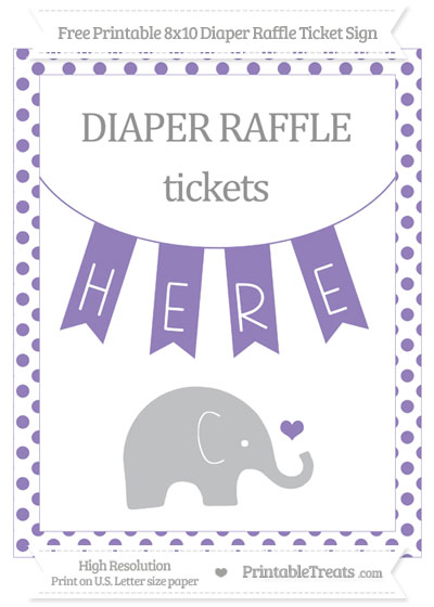 Free Pastel Dark Plum Dotted Baby Elephant 8x10 Diaper Raffle Ticket Sign