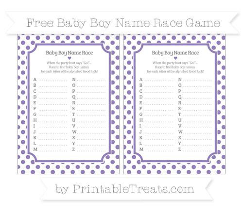 Free Pastel Dark Plum Dotted Pattern Baby Boy Name Race Game