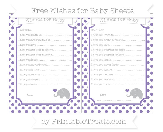 Free Pastel Dark Plum Dotted Pattern Baby Elephant Wishes for Baby Sheets