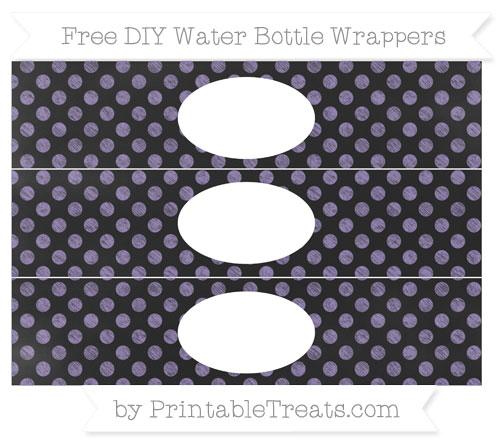 Free Pastel Dark Plum Dotted Pattern Chalk Style DIY Water Bottle Wrappers