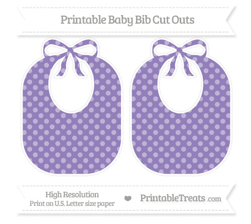 Free Pastel Dark Plum Dotted Pattern Large Baby Bib Cut Outs