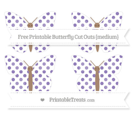 Free Pastel Dark Plum Dotted Pattern Medium Butterfly Cut Outs