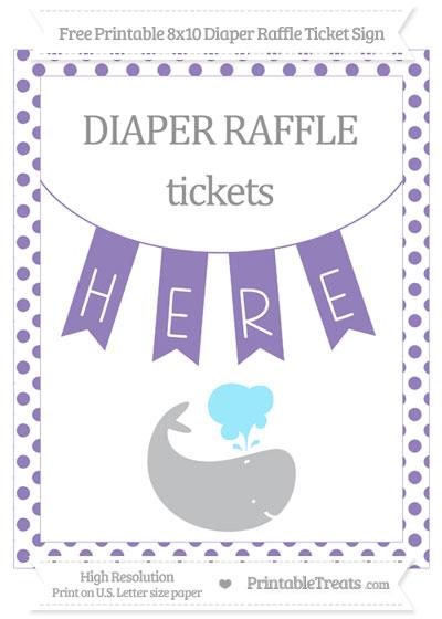 Free Pastel Dark Plum Dotted Whale 8x10 Diaper Raffle Ticket Sign