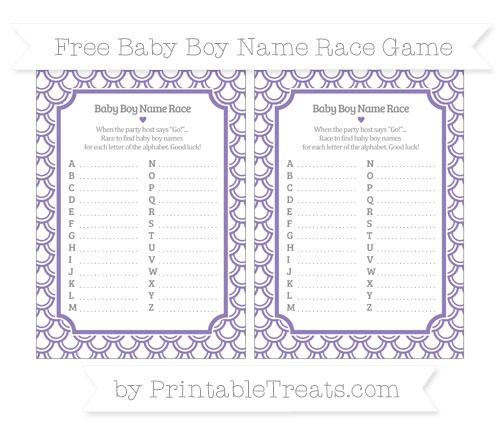 Free Pastel Dark Plum Fish Scale Pattern Baby Boy Name Race Game