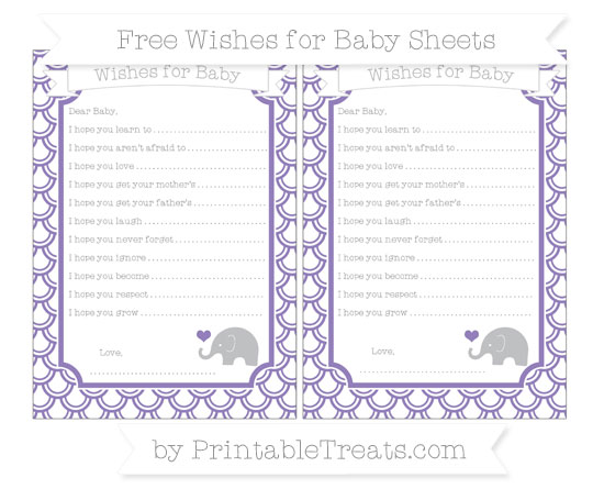 Free Pastel Dark Plum Fish Scale Pattern Baby Elephant Wishes for Baby Sheets