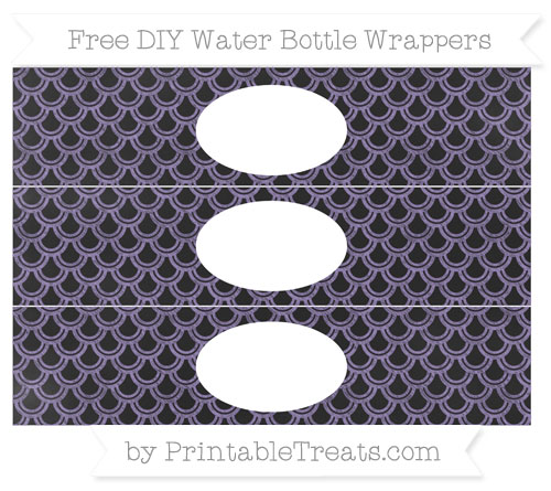 Free Pastel Dark Plum Fish Scale Pattern Chalk Style DIY Water Bottle Wrappers