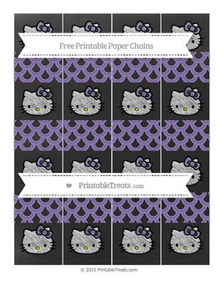Free Pastel Dark Plum Fish Scale Pattern Chalk Style Hello Kitty Paper Chains