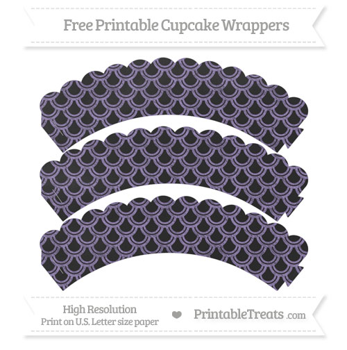 Free Pastel Dark Plum Fish Scale Pattern Chalk Style Scalloped Cupcake Wrappers