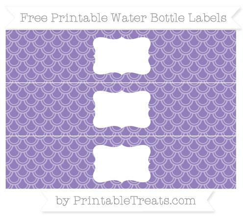 Free Pastel Dark Plum Fish Scale Pattern Water Bottle Labels