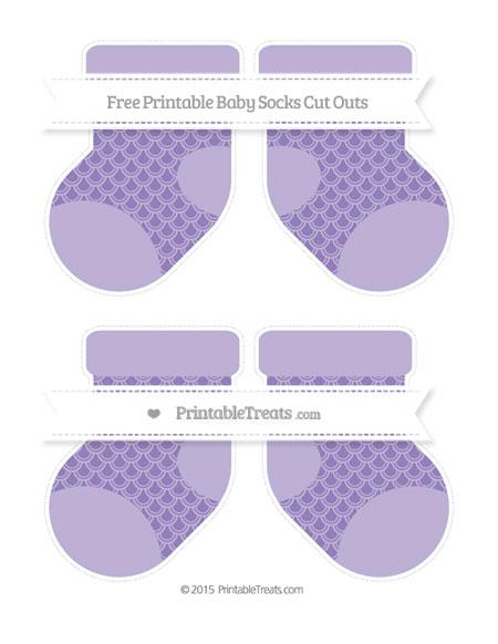 Free Pastel Dark Plum Fish Scale Pattern Medium Baby Socks Cut Outs