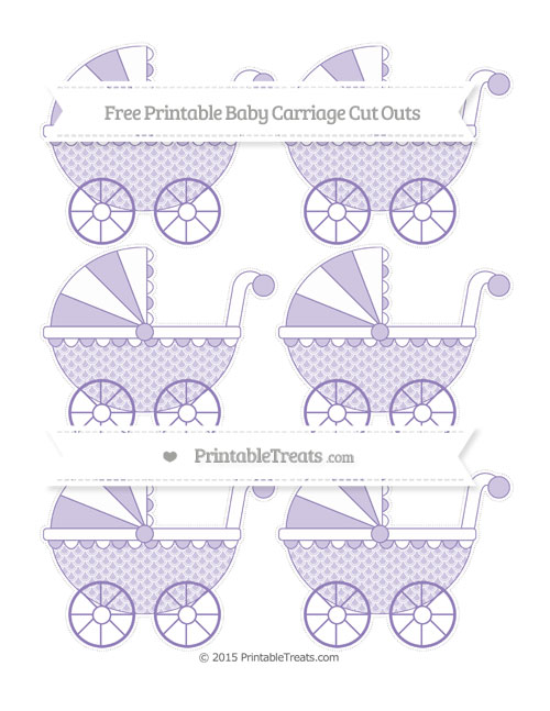 Free Pastel Dark Plum Fish Scale Pattern Small Baby Carriage Cut Outs