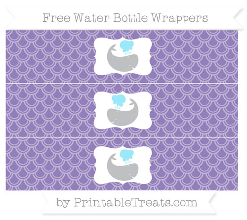 Free Pastel Dark Plum Fish Scale Pattern Whale Water Bottle Wrappers