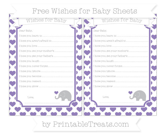Free Pastel Dark Plum Heart Pattern Baby Elephant Wishes for Baby Sheets