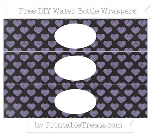 Free Pastel Dark Plum Heart Pattern Chalk Style DIY Water Bottle Wrappers