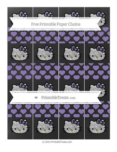 Free Pastel Dark Plum Heart Pattern Chalk Style Hello Kitty Paper Chains