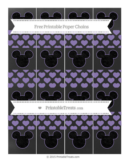 Free Pastel Dark Plum Heart Pattern Chalk Style Mickey Mouse Paper Chains