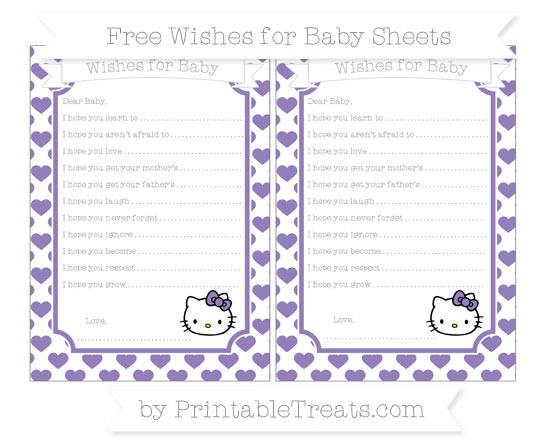 Free Pastel Dark Plum Heart Pattern Hello Kitty Wishes for Baby Sheets