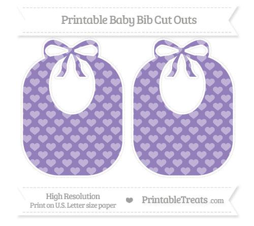 Free Pastel Dark Plum Heart Pattern Large Baby Bib Cut Outs