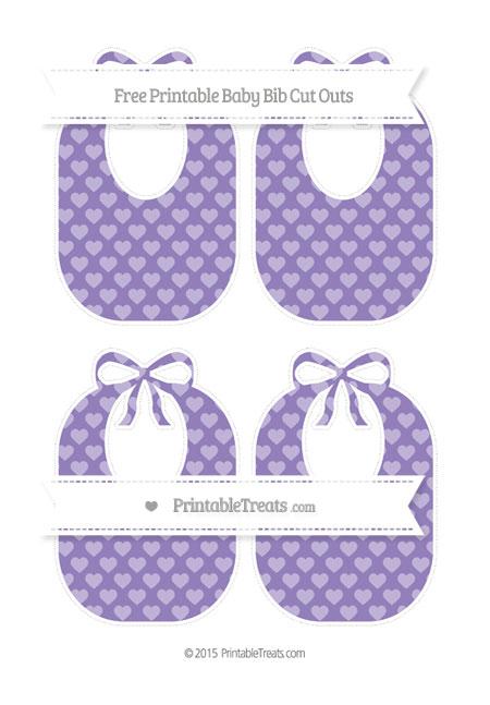 Free Pastel Dark Plum Heart Pattern Medium Baby Bib Cut Outs