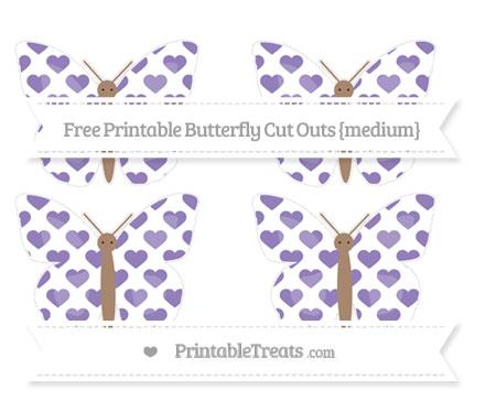 Free Pastel Dark Plum Heart Pattern Medium Butterfly Cut Outs