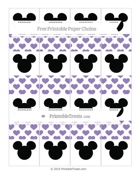 Free Pastel Dark Plum Heart Pattern Mickey Mouse Paper Chains