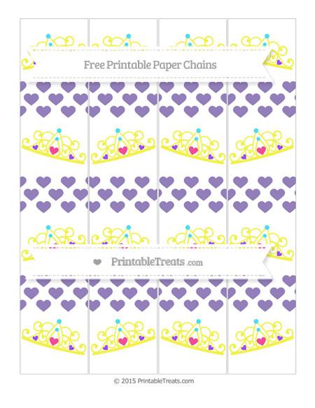 Free Pastel Dark Plum Heart Pattern Princess Tiara Paper Chains
