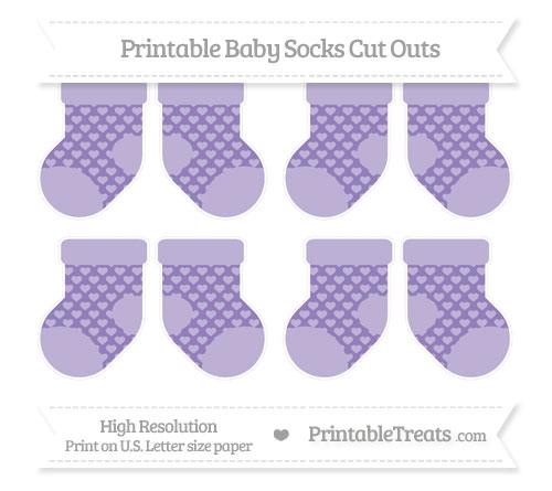 Free Pastel Dark Plum Heart Pattern Small Baby Socks Cut Outs