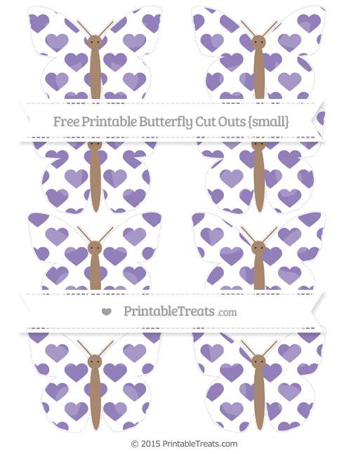 Free Pastel Dark Plum Heart Pattern Small Butterfly Cut Outs
