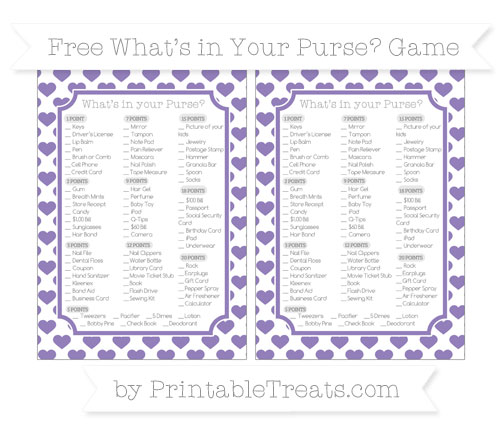 Free Pastel Dark Plum Heart Pattern What's in Your Purse Baby Shower Game