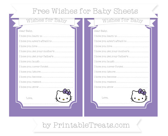 Free Pastel Dark Plum Hello Kitty Wishes for Baby Sheets