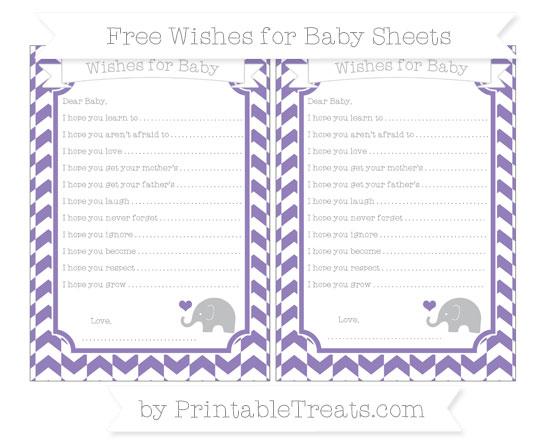 Free Pastel Dark Plum Herringbone Pattern Baby Elephant Wishes for Baby Sheets