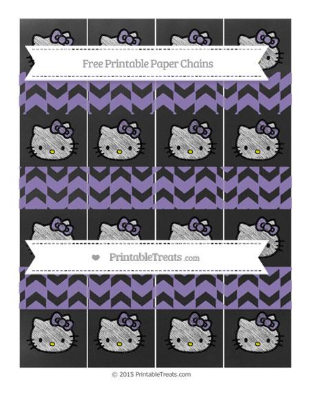 Free Pastel Dark Plum Herringbone Pattern Chalk Style Hello Kitty Paper Chains