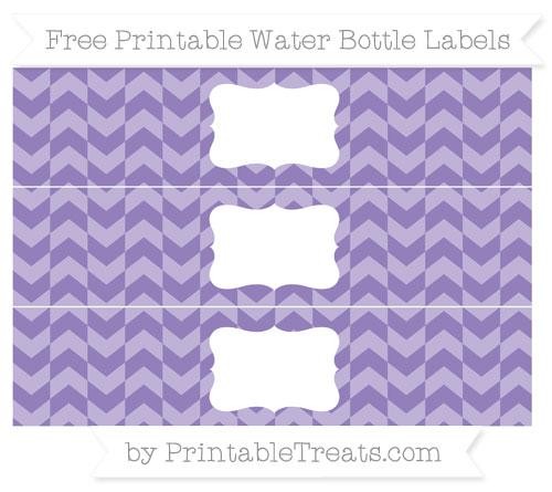 Free Pastel Dark Plum Herringbone Pattern Water Bottle Labels