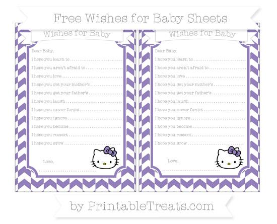 Free Pastel Dark Plum Herringbone Pattern Hello Kitty Wishes for Baby Sheets