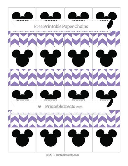 Free Pastel Dark Plum Herringbone Pattern Mickey Mouse Paper Chains