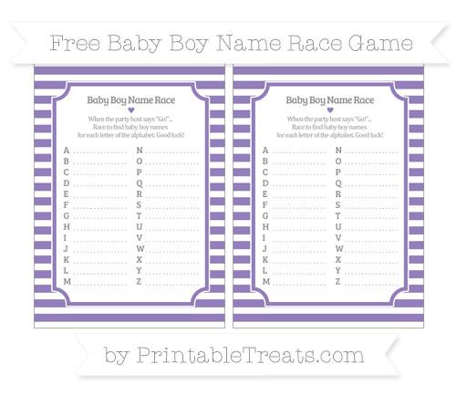 Free Pastel Dark Plum Horizontal Striped Baby Boy Name Race Game